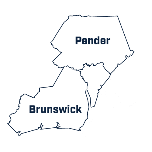 McGee Law Firm Service Area - Pender County - Brunswick County - New Hanover County - North Carolina
